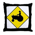 Tractor Crossing Sign - Throw Pillow