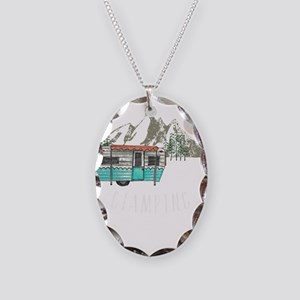 I'd Rather Be Glamping Vin Necklace Oval Charm