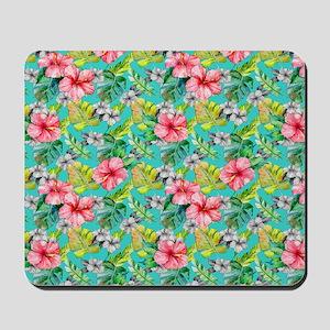 Tropical Watercolor Floral Mousepad