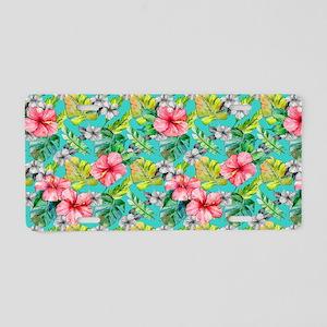 Tropical Watercolor Floral Aluminum License Plate