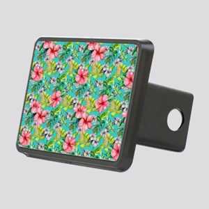Tropical Watercolor Floral Rectangular Hitch Cover