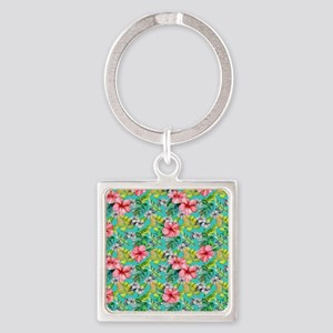 Tropical Watercolor Floral Keychains