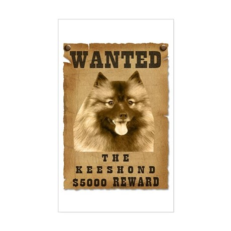 """""""Wanted"""" Keeshond Rectangle Sticker"""