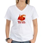 Obama Big Luv for Big Gov Women's V-Neck T-Shirt