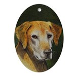 Hound Dog Christmas Oval Ornament