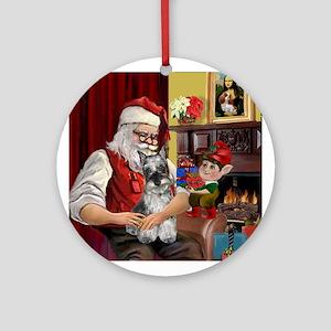 Schnauzer and Santa at home Keepsake (Round)