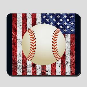 Baseball Ball On American Flag Mousepad