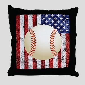Baseball Ball On American Flag Throw Pillow