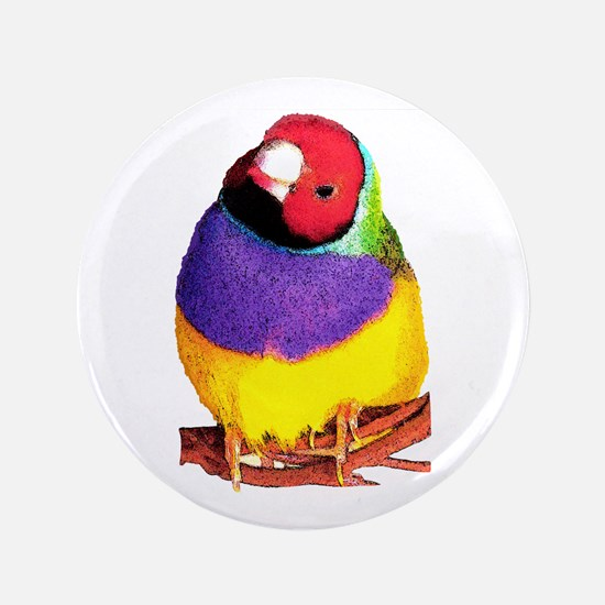 "Gouldian Finch 3.5"" Button"