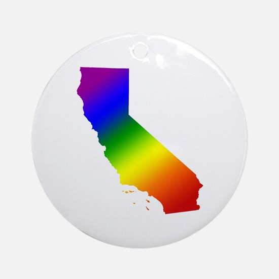 California Gay Pride Ornament (Round)