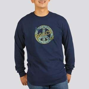 Vintage Retro Peace Long Sleeve Dark T-Shirt