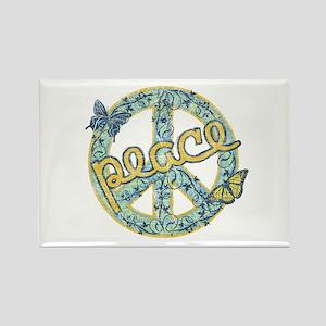 Vintage Retro Peace Rectangle Magnet