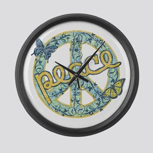 Vintage Retro Peace Large Wall Clock