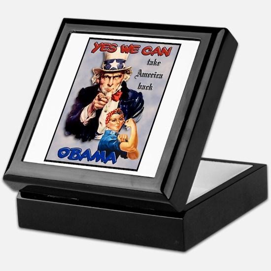 Uncle Sam Rosie Riveter for Obama Keepsake Box