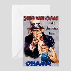 Uncle Sam Rosie Riveter for Obama Greeting Card