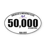 50,000 Kilometers Walked Oval Car Magnet