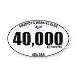 40,000 Kilometers Walked Oval Car Magnet