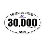 30,000 Kilometers Walked Oval Car Magnet