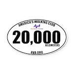 20,000 Kilometers Walked Oval Car Magnet