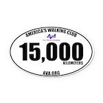 15,000 Kilometers Walked Oval Car Magnet