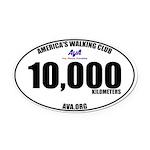 10,000 Kilometers Walked Oval Car Magnet