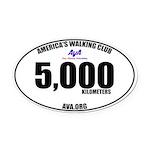 5,000 Kilometers Walked Oval Car Magnet