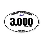 3,000 Kilometers Walked Oval Car Magnet