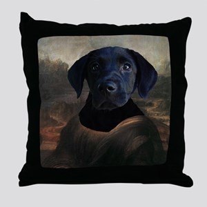 Black Lab MONA LISA Throw Pillow