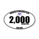 2,000 Kilometers Walked Oval Car Magnet