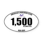 1,500 Kilometers Walked Oval Car Magnet