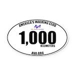 1,000 Kilometers Walked Oval Car Magnet