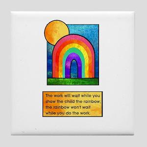 Rainbows & Children Tile Coaster