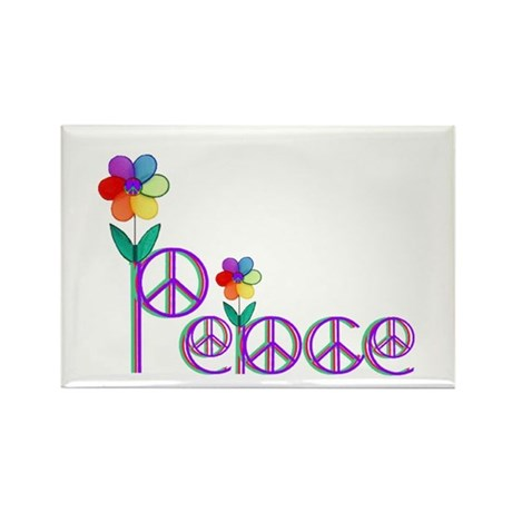Primary Peace Rectangle Magnet