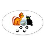 Fish Bowl Kitty Oval Sticker (10 pk)