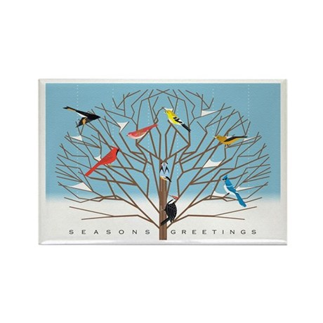 Winter Bird Holiday Rectangle Magnet