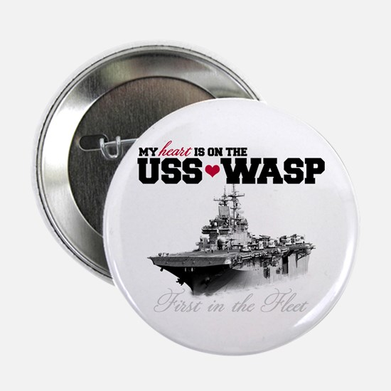 """USS Wasp (Heart) 2.25"""" Button"""