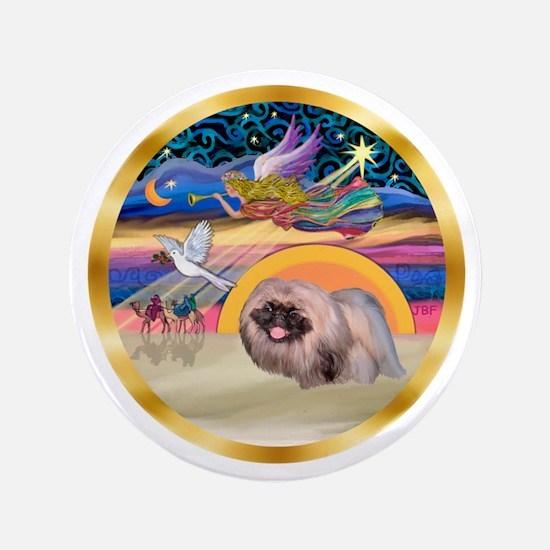 "XmasStar/Pekingese #10 3.5"" Button"