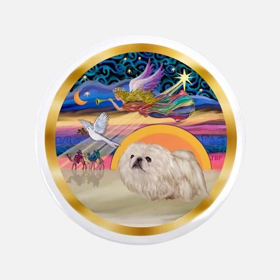"XmasStar/Pekingese (w) 3.5"" Button"