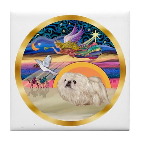 XmasStar/Pekingese (w) Tile Coaster