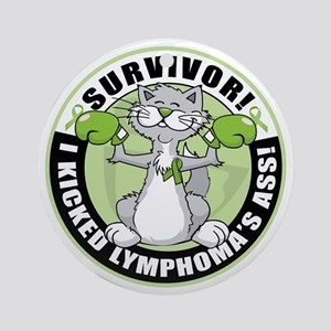 Lymphoma Survivor: Boxing Cat Ornament (Round)