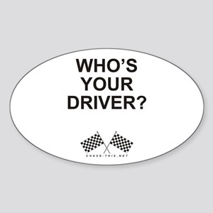 Checker Flag Driver Oval Sticker