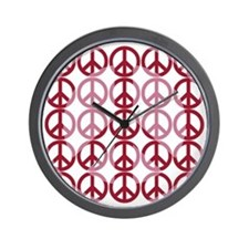 Retro Pink Peace Wall Clock