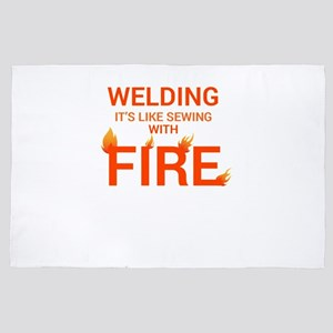 Welding sewing with fire orange 4' x 6' Rug