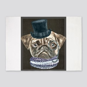 Pug TopHat Monacle Scarf Dogs In Cl 5'x7'Area Rug