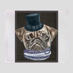 Pug TopHat Monacle Scarf Dogs In Clo Throw Blanket