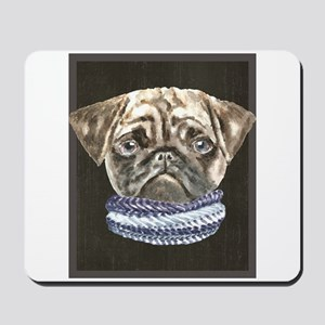 Pug Scarf Dogs In Clothes Mousepad