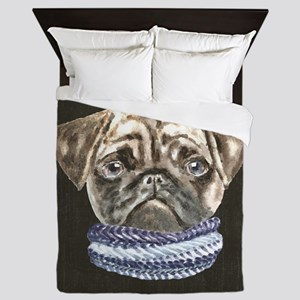 Pug Scarf Dogs In Clothes Queen Duvet