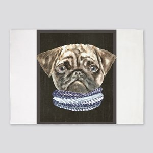Pug Scarf Dogs In Clothes 5'x7'Area Rug