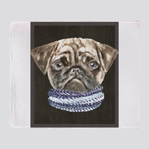 Pug Scarf Dogs In Clothes Throw Blanket