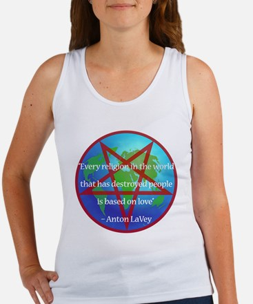 LaVey Religion Quote Tank (Fitted, White)